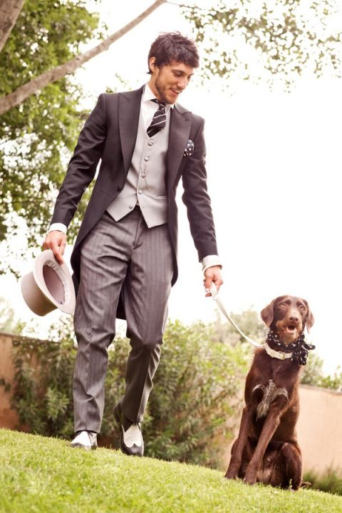 Traditional #Suit and Tails for the #Groom with a Dapper Dog! | Rosapaola Lucibelli Photography | See More! https://heyweddinglady.com/italian-chic-spring-styled-wedding-from-rosapaola-lucibelli/