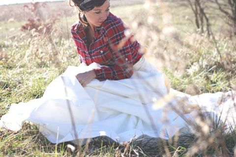 Vintage Red Plaid Shirt over a Ballgown | dKin Photography | See More https://heyweddinglady.com/local-sustainable-wedding-ideas-family-run-vineyard-dkin-photography/