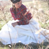 Vintage Red Plaid Shirt over a Ballgown | dKin Photography | See More http://heyweddinglady.com/local-sustainable-wedding-ideas-family-run-vineyard-dkin-photography/