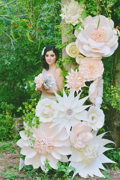 Anthropologie Inspired Paper Flower Ceremony Decor | Elisheva Golani Photography and Balushka Paper Artistry | See More: https://heyweddinglady.com/love-bloom-gorgeous-paper-flower-ideas-wedding/