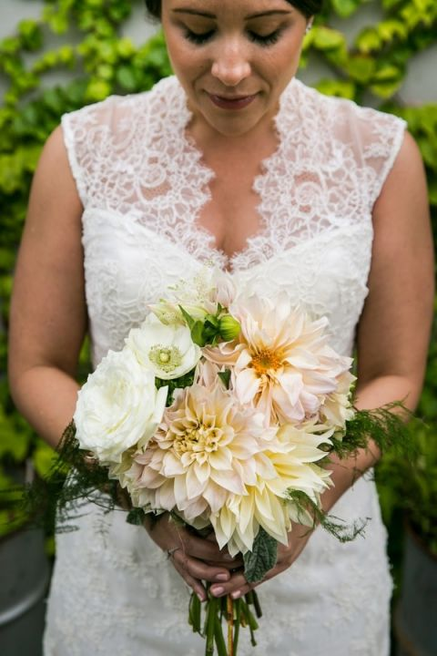 Lush Pastel Dahlia Bridal Bouquet | Kelly Williams, Photographer | https://heyweddinglady.com/romantic-rustic-urban-wedding-at-brooklyn-winery/