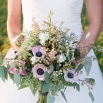 Pastel Green and Purple Anemone Bouquet | Still Moments Photography | See More! https://heyweddinglady.com/spring-meadow-wedding-shoot-from-still-moments-photography/