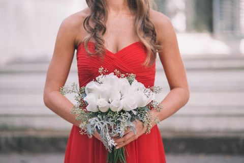 Cherry Red Bridesmaids Dresses with Ivory Rose Bouquets | Black and Hue Photography | See more: https://heyweddinglady.com/cherry-red-black-and-ivory-rustic-chic-wedding-from-black-and-hue-photography/