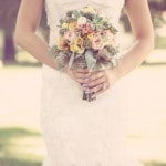 Eucalyptus, Succulent, and Rose Bouquet in Silvery Green, Pink, and Yellow | Ashley DePencier Photography | See More: http://heyweddinglady.com/country-romance-pastel-spring-wedding-inspiration-from-ashley-depencier-photography/