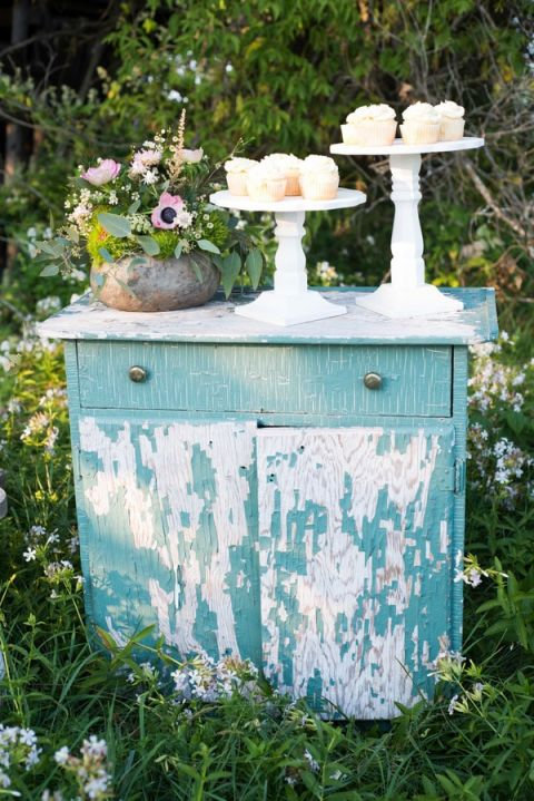 Shabby Chic Vintage Dresser for Cake and Desserts | Still Moments Photography | See More! https://heyweddinglady.com/spring-meadow-wedding-shoot-from-still-moments-photography/