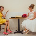 Our Maid of Honor rocks a lemon yellow dress and coral shoes! | IQphoto Studio | See More! https://heyweddinglady.com/a-chic-san-francisco-city-hall-elopement-from-iqphoto-studio/