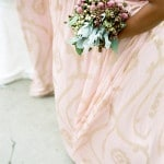 Blush and Gold Patterned Bridesmaids' Dresses | Tikko Weddings |See More: https://heyweddinglady.com/classic-and-glamorous-blush-and-gold-socal-wedding-from-tikko-weddings/
