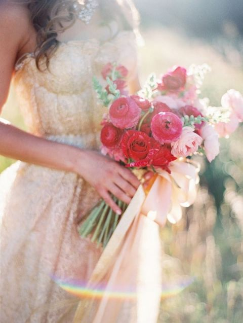 Gold Lace Wedding Dress with Fuchsia Flowers | Sara Hasstedt Photography | See More: http://heyweddinglady.com/liquid-gold-need-magic-hour-portraits-wedding/