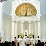 Beautiful Chapel Reception at the Church of St. Peter and St. Paul | Tikko Weddings |See More: https://heyweddinglady.com/classic-and-glamorous-blush-and-gold-socal-wedding-from-tikko-weddings/