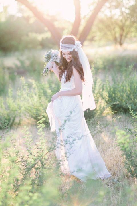 Romantic Bohemian Bridal Portraits | Rachel Ann Photography | See More: http://heyweddinglady.com/liquid-gold-need-magic-hour-portraits-wedding/