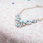 Aqua and Peach Jeweled Statement Necklace | Katherine Rose Photography | See More!http://heyweddinglady.com/backyard-bohemian-wedding-inspiration-from-katherine-rose/