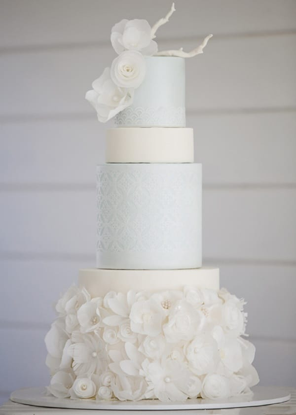 Chanel Inspired Rice Paper Flower Ice Blue Wedding Cake Hey There