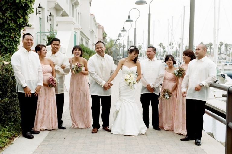 Elegant Blush And Ivory Bridal Party