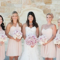 Bride and Bridesmaids in Blush for a Romantic VIlla Wedding | Luxury Estate Weddings and Events | See more! https://heyweddinglady.com/tuscan-inspired-hilltop-villa-wedding-in-malibu/