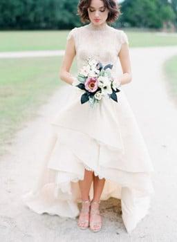 Rivini Lace Trimmed Handkerchief Hem Wedding Dress Corbin Gurkin