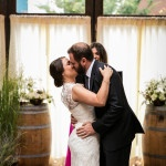 Floral Wine Barrel Arrangements for a Winery Wedding | Kelly Williams, Photographer | http://heyweddinglady.com/romantic-rustic-urban-wedding-at-brooklyn-winery/
