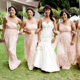 Glamorous Bridesmaids in Blush! | Tikko Weddings |See More: http://heyweddinglady.com/classic-and-glamorous-blush-and-gold-socal-wedding-from-tikko-weddings/