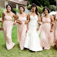 Glamorous Bridesmaids in Blush! | Tikko Weddings |See More: https://heyweddinglady.com/classic-and-glamorous-blush-and-gold-socal-wedding-from-tikko-weddings/