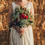 A Wild Green and Cayenne Bouquet | Oli Sansom Photography | See More! https://heyweddinglady.com/natural-beauty-riverside-australian-wedding-by-oli-sansom-photography/