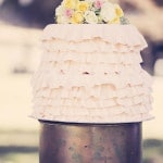 Ruffled Peach Wedding Cake | Ashley DePencier Photography | See More: https://heyweddinglady.com/country-romance-pastel-spring-wedding-inspiration-from-ashley-depencier-photography/
