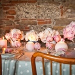 Aqua Polka Dot Linens, Blush and Ivory Peonies - Does it get any cuter? | Rosapaola Lucibelli Photography | See More! https://heyweddinglady.com/italian-chic-spring-styled-wedding-from-rosapaola-lucibelli/