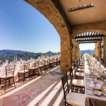 A Blush Al-Fresco Wedding Reception in an Italian Style Villa | Luxury Estate Weddings and Events | See more! https://heyweddinglady.com/tuscan-inspired-hilltop-villa-wedding-in-malibu/