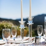 Crystal and Glass Accents for a Romantic Candlelight Reception | Luxury Estate Weddings and Events | See more! https://heyweddinglady.com/tuscan-inspired-hilltop-villa-wedding-in-malibu/