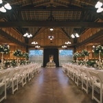 Romantic Barn Reception | Black and Hue Photography | See more: https://heyweddinglady.com/cherry-red-black-and-ivory-rustic-chic-wedding-from-black-and-hue-photography/