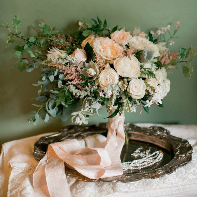 A Forest Green And Peach Wedding