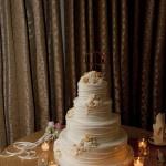 Glamorous Ivory and Gold Wedding Cake | Tikko Weddings |See More: https://heyweddinglady.com/classic-and-glamorous-blush-and-gold-socal-wedding-from-tikko-weddings/
