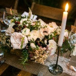 Berries and Ivory Flowers on a Burlap and Lace Runner | Kelly Williams, Photographer | https://heyweddinglady.com/romantic-rustic-urban-wedding-at-brooklyn-winery/