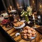 A donut buffet with other local desserts from Brooklyn bakeries | Kelly Williams, Photographer | https://heyweddinglady.com/romantic-rustic-urban-wedding-at-brooklyn-winery/