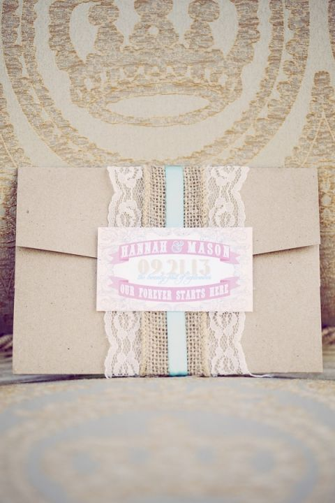 Burlap and Lace Wrapped Wedding Invitation | Ashley DePencier Photography | See More: https://heyweddinglady.com/country-romance-pastel-spring-wedding-inspiration-from-ashley-depencier-photography/