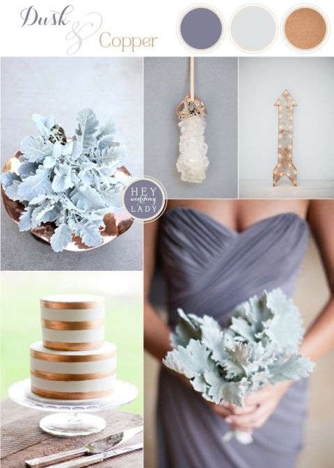 Dusk and Copper - Modern Metallic Wedding Inspiration with Slate and Dusty Miller | See More: https://heyweddinglady.com/dusk-and-copper-modern-metallic-wedding-inspiration/
