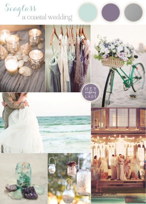 Seaglass - Coastal Wedding Inspiration in Aqua, Amethyst and Silver   See More! https://heyweddinglady.com/seaglass-seagrass-coastal-wedding-inspiration/