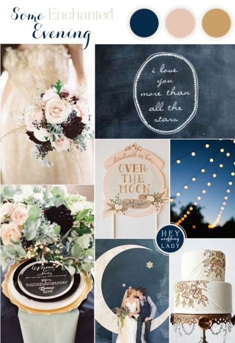 An Astronomy Themed Wedding Inspiration Board in Indigo Blue, Blush, and Antique Gold | See More: https://heyweddinglady.com/astronomy-themed-wedding-in-indigo-blush-and-gold/