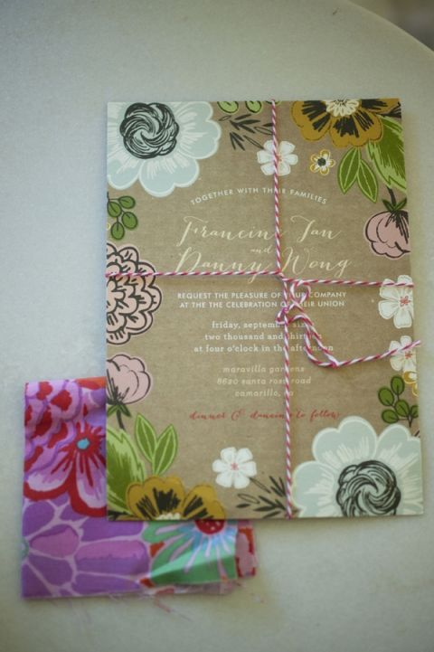 Hand Drawn Anemone Wedding Invitations on Kraft Paper from Wedding Paper Divas | Tikko Weddings | See More! http://heyweddinglady.com/elegant-and-colorful-wine-country-wedding/