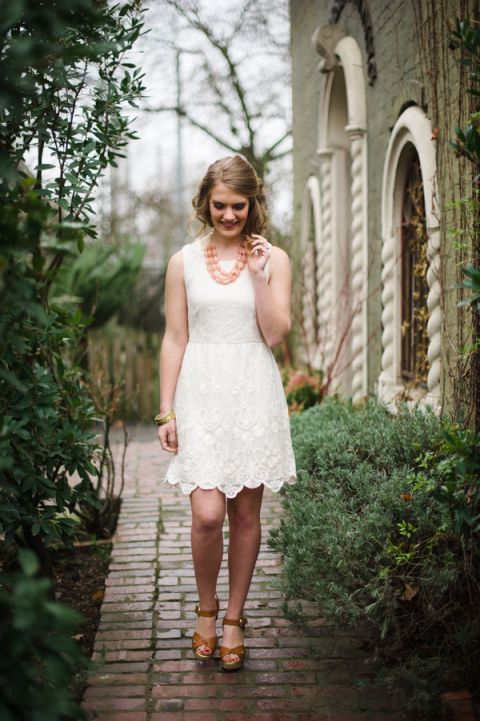 Lace Ivory Shift Dress for an Anthropologie Inspired Bridal Shower | Tonie Christine Photography | See More! http://heyweddinglady.com/vintage-spring-anthropologie-inspired-bridal-shower/
