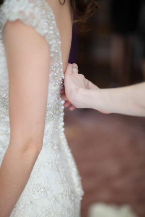 A Glittering Romantic Wedding Dress | Craig Hodge Photography | See More! https://heyweddinglady.com/elegant-simplicity-in-royal-purple-from-craig-hodge-photography/