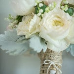 A Romantic Rustic Bridal Bouquet with Ivory Peonies and Lily of the Valley | Carla Ten Eyck | See More! https://heyweddinglady.com/joyful-peach-and-spring-green-connecticut-wedding/