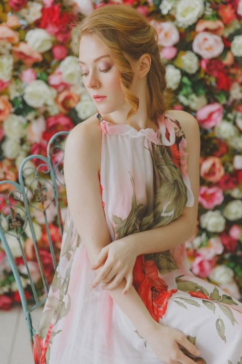 A Coral Floral Print Gown inspired by Anna Sui | Warmphoto | See More! http://heyweddinglady.com/flowers-and-feathers-boho-coral-charm-bridal-inspiration-from-warmphoto/