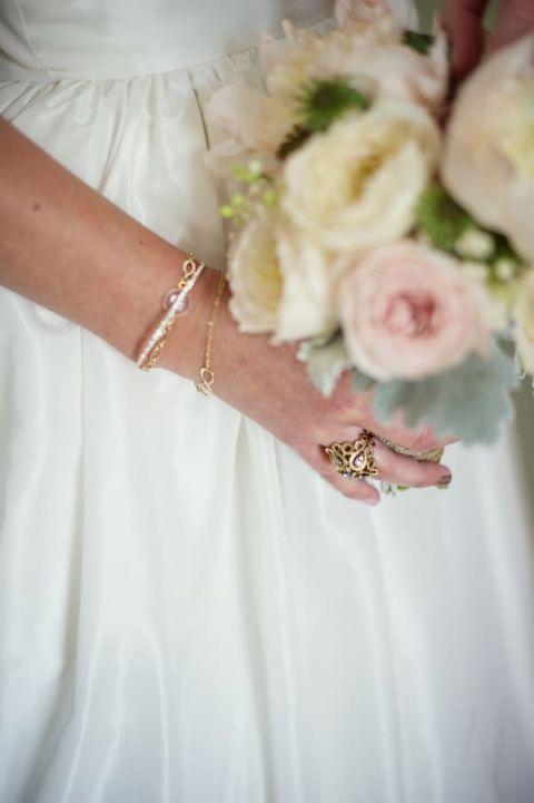 Vintage Gold Wedding Jewelry | Carla Ten Eyck | See More! http://heyweddinglady.com/joyful-peach-and-spring-green-connecticut-wedding/