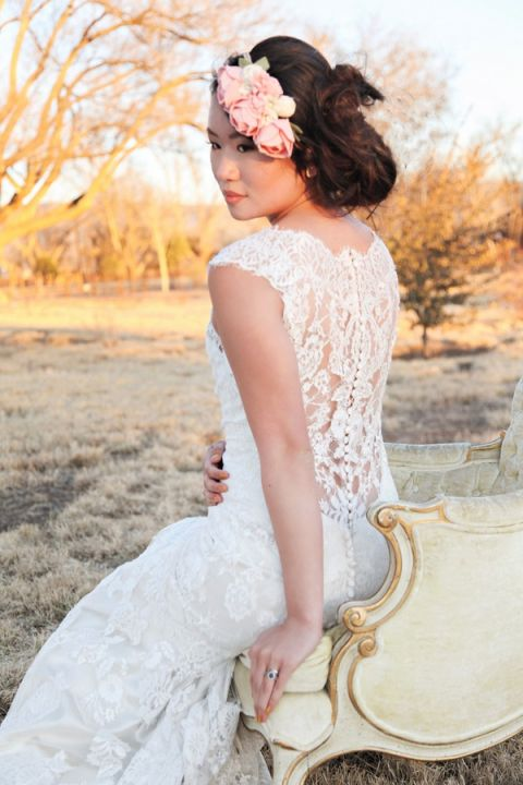 Elegant Lace Back Wedding Dress | Studio Amy Luna | See More! https://heyweddinglady.com/whimsical-desert-wedding-inspiration-with-sweets-and-pastels/