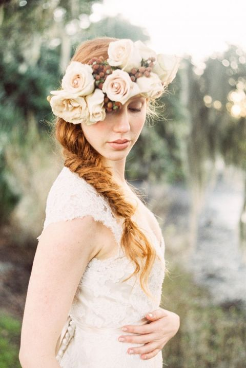 The Perfect Bridal Braid and Floral Crown | JoPhoto | See More! https://heyweddinglady.com/dreamy-southern-cotton-field-styled-bridal-shoot/