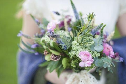 Blue and Purple Spring Wedding Bouquet | Plenty to Declare Photography | See More! https://heyweddinglady.com/romantic-english-bohemian-bridal-shoot-from-plenty-to-declare-photography/