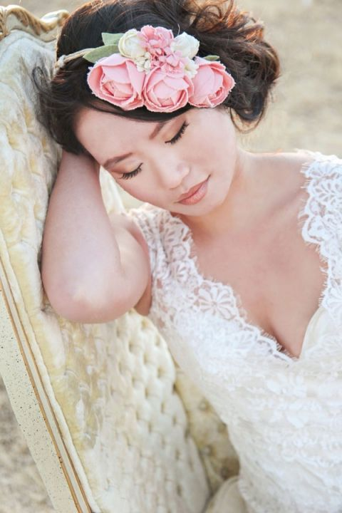 A Crown of Peach Paper Peonies for a Romantic Desert Bridal Shoot | Studio Amy Luna | See More! http://heyweddinglady.com/whimsical-desert-wedding-inspiration-with-sweets-and-pastels/