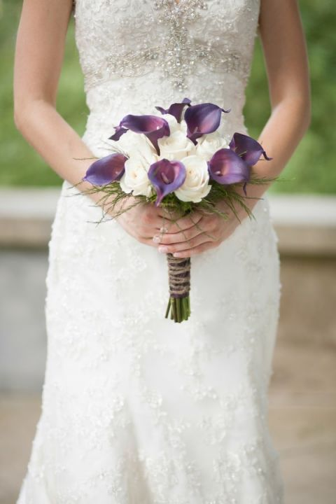 Royal Purple Calla Lily and White Rose Bouquet | Craig Hodge Photography | See More! https://heyweddinglady.com/elegant-simplicity-in-royal-purple-from-craig-hodge-photography/