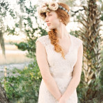 The Perfect Bridal Braid and Floral Crown | JoPhoto | See More! http://heyweddinglady.com/dreamy-southern-cotton-field-styled-bridal-shoot/