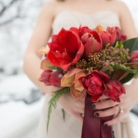 Crimson and Coral Amaryllis Bouquet for a Snowy Winter Wedding | Angela Hubbard Photography | See More! https://heyweddinglady.com/winter-queen-snowy-bridal-portraits-by-angela-hubbard-photography/