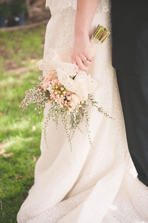 Peach Blooms And Floral Lace For Rustic Romance Bridal Bouquet